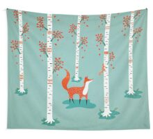 Fox - Squirrel - Birch trees - Fall Wall Tapestry