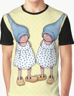 Gnome Twin Girls on Dotted Yellow Background, Graphic T-Shirt