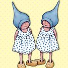 Gnome Twin Girls on Dotted Yellow Background, by Joyce Geleynse
