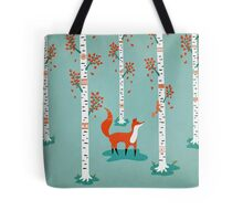 Fox - Squirrel - Birch trees - Fall Tote Bag