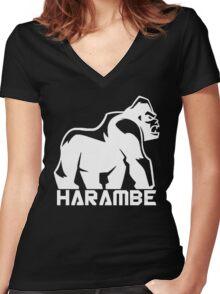 Harambe White Women's Fitted V-Neck T-Shirt