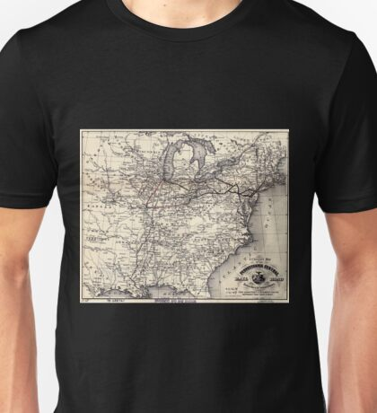 0348 Railroad Maps A correct map of the Pennsylvania Central Rail Road with its branches connections the shortest quickest route between the east Unisex T-Shirt