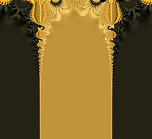 Black and gold curtain with spiral shapes and patterns by derejeb
