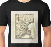 0054 Railroad Maps Map of railways in New England and part of New York engraved by E A Teulon expressly to accompany the Pathfinder Railway Unisex T-Shirt