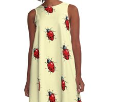 Ladybug, Ladybird on Yellow, Dotted Background: Art A-Line Dress
