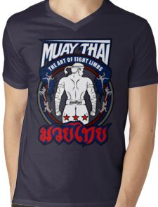 muay thai fighter strong back thailand martial art Mens V-Neck T-Shirt
