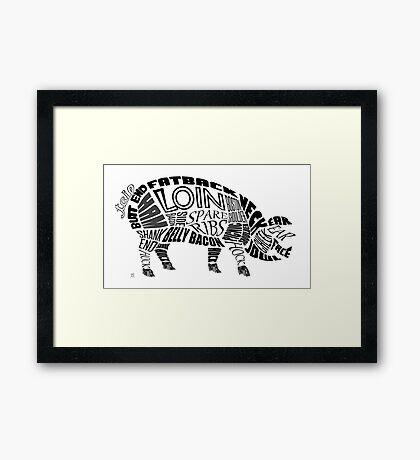 Pork Typogram Framed Print