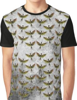 Phoenix Pattern with Texture Graphic T-Shirt