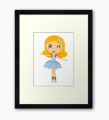 Cute dancing little ballerina girl Framed Print