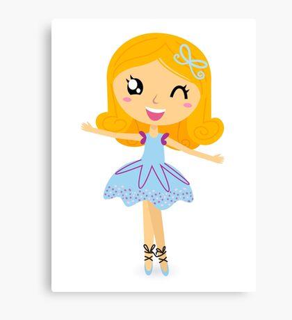 Cute dancing little ballerina girl Canvas Print