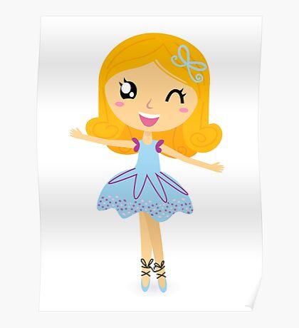 Cute dancing little ballerina girl Poster