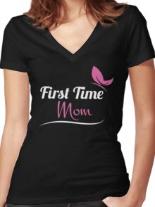 First Time Mom Gifts - First Time Mom Shirt Women's Fitted V-Neck T-Shirt