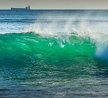 Ocean wave with ships by Szabolcs Hant