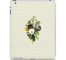 Pansies, Flowers, Leaves - Blue Yellow White iPad Case/Skin
