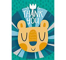 Happy Lion Design and Thank You Card Photographic Print