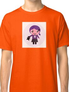 Little emo girl drawing - vintage purple style character Classic T-Shirt