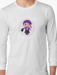 Little emo girl drawing - vintage purple style character Long Sleeve T-Shirt