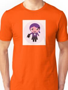 Little emo girl drawing - vintage purple style character Unisex T-Shirt