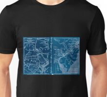 0037 Railroad Maps Railroads in New Jersey Pennysylvania Delaware and Maryland drawn and engraved for Doggett's Railroad Guide Inverted Unisex T-Shirt