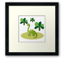 Green long necked dinosaur Framed Print