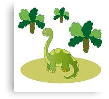 Green long necked dinosaur Canvas Print