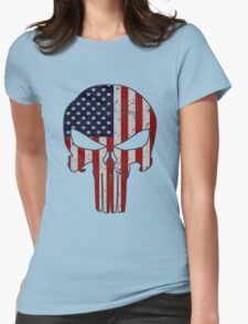 USA Skull  Womens Fitted T-Shirt