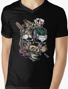 Harley Joker Skulls Mad Love Mens V-Neck T-Shirt
