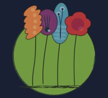 Funky flowers with green circle Kids Tee