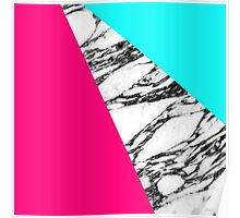Modern Pink Teal Black White Marble Geometric Tricut Poster