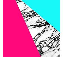 Modern Pink Teal Black White Marble Geometric Tricut Photographic Print