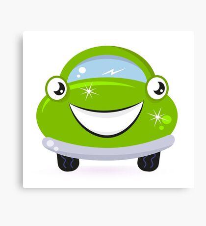 Car wash - happy green cartoon automobile Canvas Print