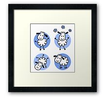 Happy doodle sheep set : nice little sheeps Original designers Edition Framed Print