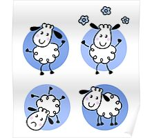 Happy doodle sheep set : nice little sheeps Original designers Edition Poster