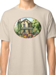 Farmhouse with Spring Tulips Classic T-Shirt
