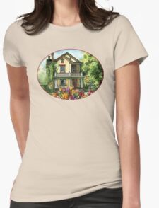 Farmhouse with Spring Tulips Womens Fitted T-Shirt