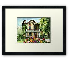 Farmhouse with Spring Tulips Framed Print