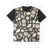 White and Gold Popular Symbols on Black Graphic T-Shirt