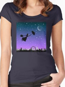 magical mary poppins Over London Women's Fitted Scoop T-Shirt