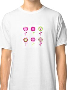 Collection of green and pink retro spring flowers Classic T-Shirt