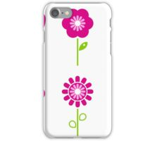 Collection of green and pink retro spring flowers iPhone Case/Skin