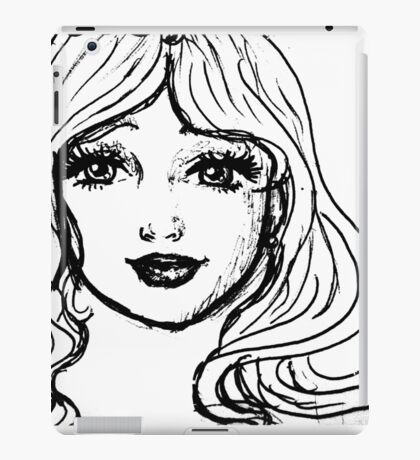 Black and White Girl iPad Case/Skin