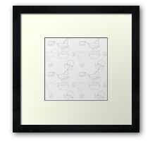 Kitchen utensils outline seamless pattern  Framed Print