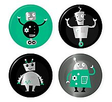 Happy robots friends badges - Designers Special Edition in our Shop Photographic Print