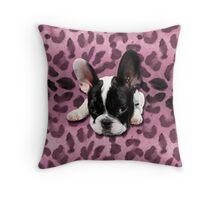 French Bulldog rockabilly leo Throw Pillow