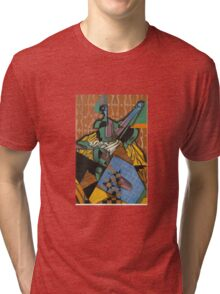 Juan Gris - Violin And Checkerboard Tri-blend T-Shirt