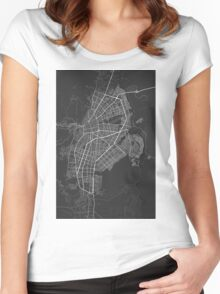 Cali, Colombia Map. (White on black) Women's Fitted Scoop T-Shirt