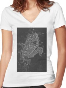 Cali, Colombia Map. (White on black) Women's Fitted V-Neck T-Shirt