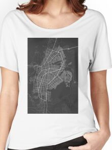 Cali, Colombia Map. (White on black) Women's Relaxed Fit T-Shirt