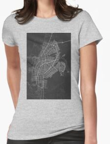 Cali, Colombia Map. (White on black) Womens Fitted T-Shirt