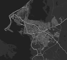 Cartagena, Colombia Map. (White on black) by Graphical-Maps